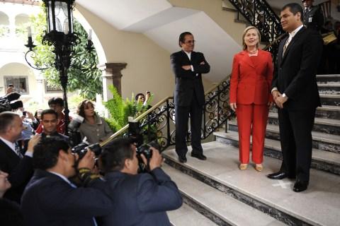 Hillary Clinton with Ecuadorean President Rafael Correa