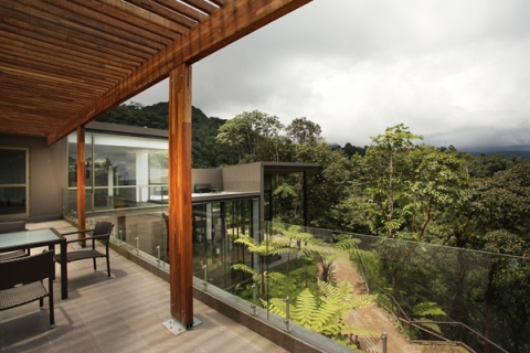 Terrace of the Mashpi Lodge in Ecuador