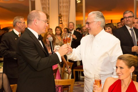 image: Alain Ducasse and Prince Albert II at the 25th Anniversary of Ducasse's landmark restaurant in Monte Carlo on Nov. 18, 2012.