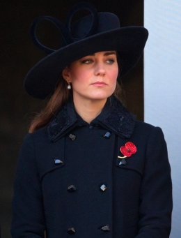 image: Catherine, Duchess of Cambridge attends the annual Remembrance Sunday Service at the Cenotaph, Whitehall on November 11, 2012 in London, England. Remembrance Sunday tributes were carried out across the nation to pay respects to all who those who lost their lives in current and past conflicts, including the First and Second World Wars