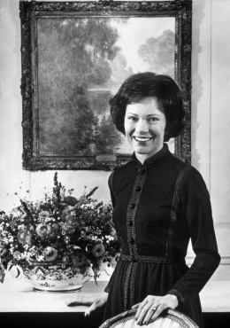 image: An official photograph of American First Lady, Rosalynn Smith Carter, taken in the Vermiel Room at the White House