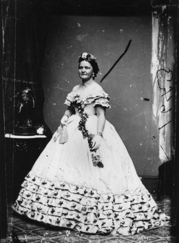 image: Mary Todd Lincoln, wife of Abraham Lincoln, the 16th President of the United States, dressed for his inauguration