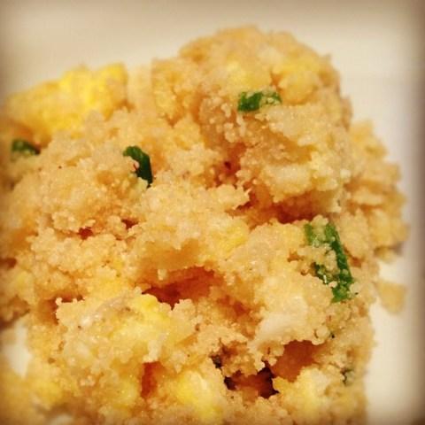 Farofa (manioc flour) and eggs.