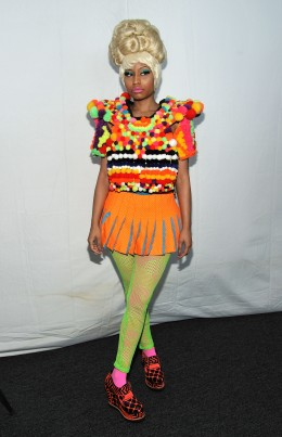 image: Nicki Minaj attends the Carolina Herrera Spring 2012 fashion show during Mercedes-Benz Fashion Week at The Theater at Lincoln Center on September 12, 2011 in New York City.