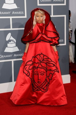 image: Singer Nicki Minaj arrives at the 54th Annual Grammy Awards