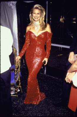 Model Christie Brinkley in skintight red beaded Bo