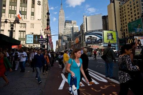 Pedestrians in New York's Garment District.