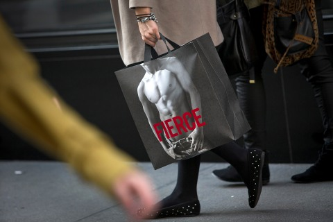 Shoppers exit an Abercrombie & Fitch store in New York CIty, on Nov. 12, 2012.